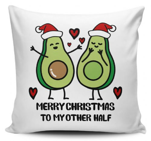 Merry Christmas To My Other Half Cute Avocado Novelty Cushion Cover